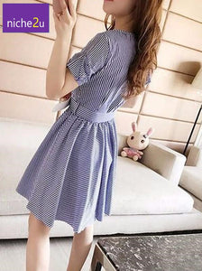 2020 Summer Plus Size Stripe Women Dress Waist Belt Female Dresses
