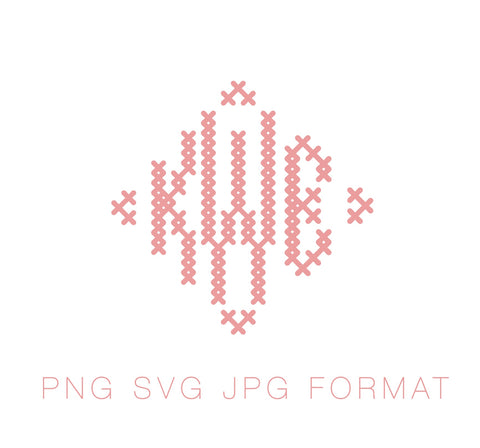 Cross Stitch Diamond PNG SVG Monogram Font