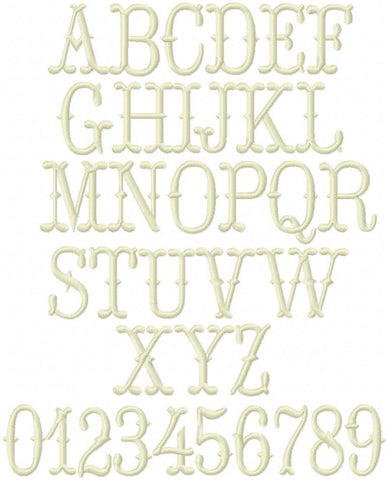 Cowboy Fishtail Satin Embroidery Font