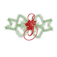 Greenery Bow Wreath Christmas Embroidery Design