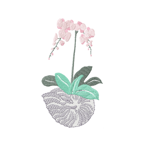 Shell Vase with Orchids Embroidery Design