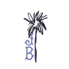 Abstract Palm Tree Embroidery Design