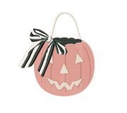 Pumpkin with Striped Bow Embroidery Design