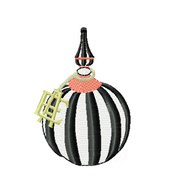 Harlequin Topiary Striped Pumpkin Embroidery Design