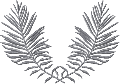 Feather Palm Leaf Embroidery Design
