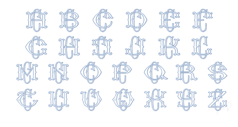 "3.5"" C Fishtail Embroidery Font Two Type Outline Font"