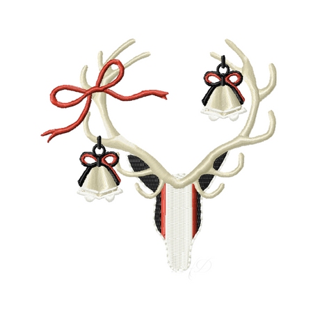 Antler Deer Ornament Christmas Embroidery Design