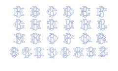 "3.5"" B Fishtail Embroidery Font Two Type Outline Font"