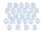 "3.5"" D Fishtail Embroidery Font Two Type Outline Font"