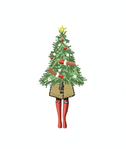 Fashion Girl Carrying Christmas Tree Christmas Embroidery Design