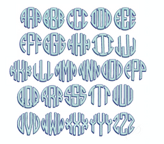 Circle Shadow Drop  Monogram Embroidery Font
