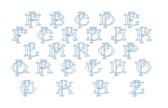 "3.5"" F Fishtail Embroidery Font Two Type Outline Font"