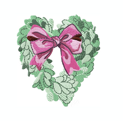 Heart Boxwood Wreath Embroidery Design