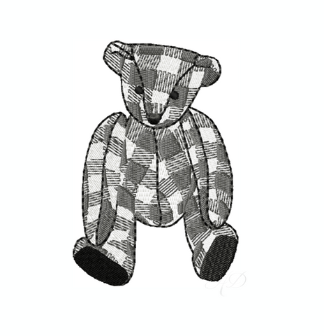 Gingham Teddy Bear Stuffed Embroidery Design