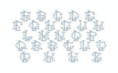 "3.5"" L Fishtail Embroidery Font Two Type Outline Font"