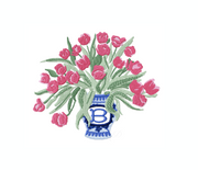 Ginger Jar with Tulips Valentine's Embroidery Design