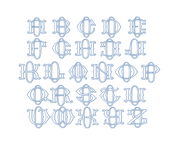 "3.5"" O Fishtail Embroidery Font Two Type Outline Font"