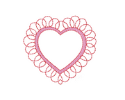Heart Scalloped Frame Embroidery Design