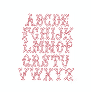Bamboo Open Satin Ribbed Embroidery Font Small
