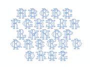 "3.5"" R Fishtail Embroidery Font Two Type Outline Font"