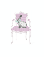 Vintage Chair with Easter Rabbit Bow Embroidery Design