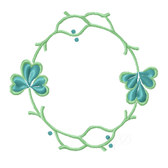 Shamrock Laurel Wreath Satin Embroidery Monogram