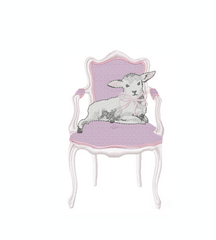 Vintage Chair with Lamb Rabbit Bow Embroidery Design