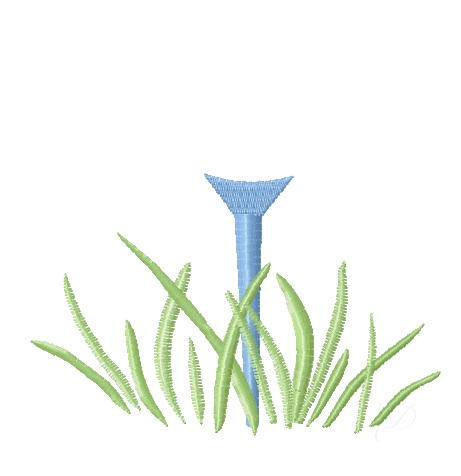 Open Monogram Golf Tee Embroidery Design Monogram