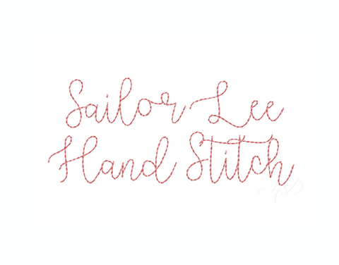 "1.5"" Sailor Lee Raw Hand Stitch Script Embroidery Font"