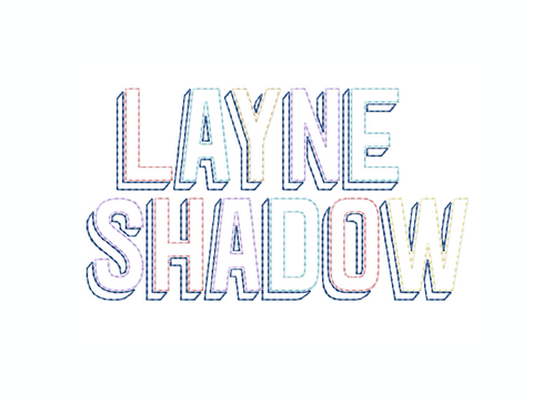 "2.5"" Layne Raw Hand Stitch Raw Embroidery Font"