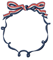 Patriotic Striped Bow Frame Embroidery Design