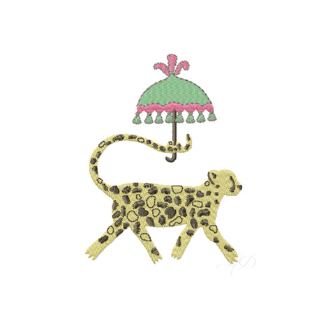 Chinoiserie Chic Cheetah with Umbrella Embroidery Design