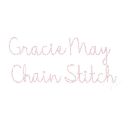 5x7 Gracie May Chain Stitch Embroidery Font Package