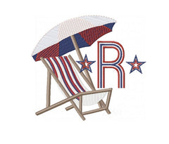 Beach Chair Umbrella Embroidery Design