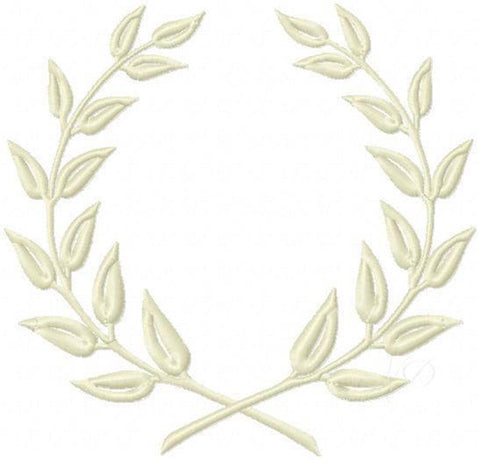 Satin Laurel Wreath Embroidery Design