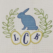 Easter Rabbit Egg Laurel Wreath Embroidery Design