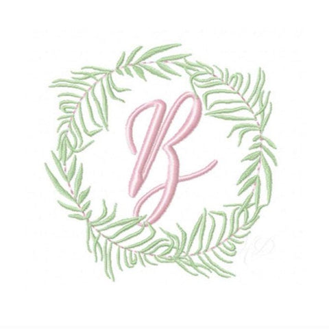 Palm Leaf Laurel Wreath Embroidery Design