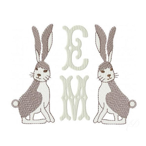 Vintage Rabbit Embroidery Design