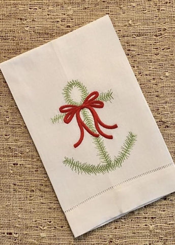Greenery Anchor Wreath Christmas Embroidery Design
