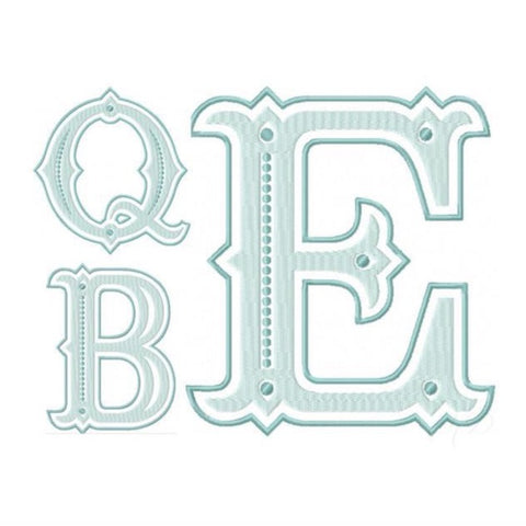 "6"" 6X10 Queen Bess Embroidery Font"