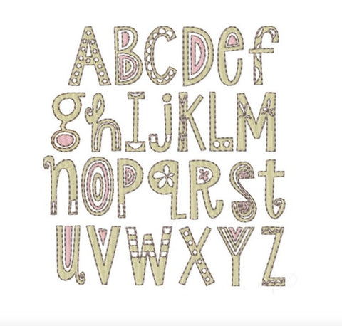 Abigail Fill Two Tone Embroidery Font Package