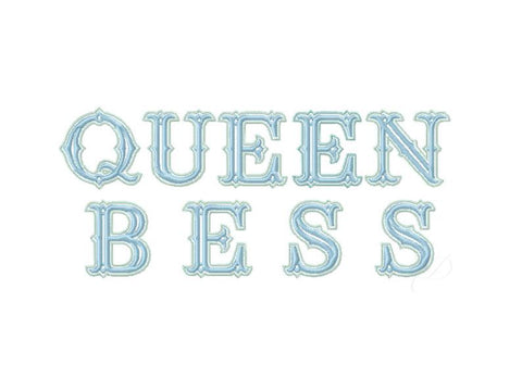 Queen Bess Embroidery Font