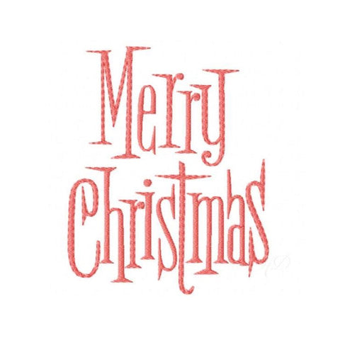Vintage Merry Christmas Embroidery Design
