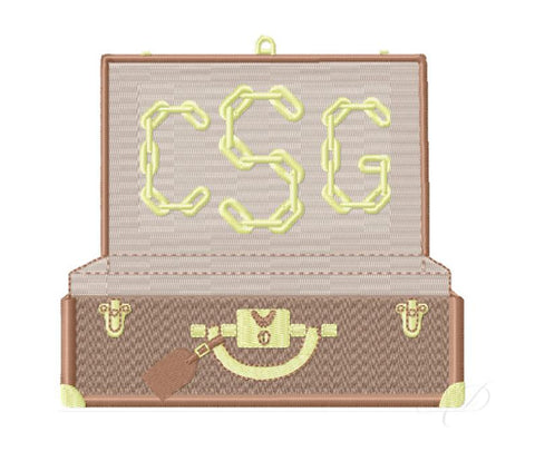 Designer Luggage Trunk Embroidery Design