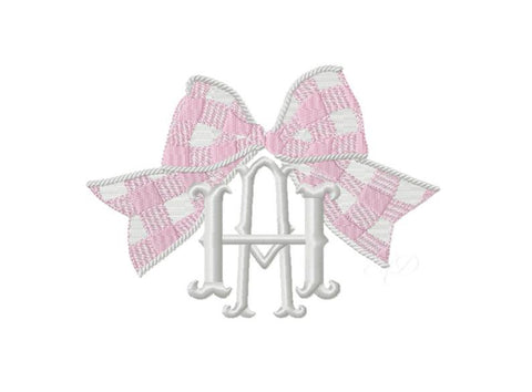 Gingham Bow Madras Embroidery Design