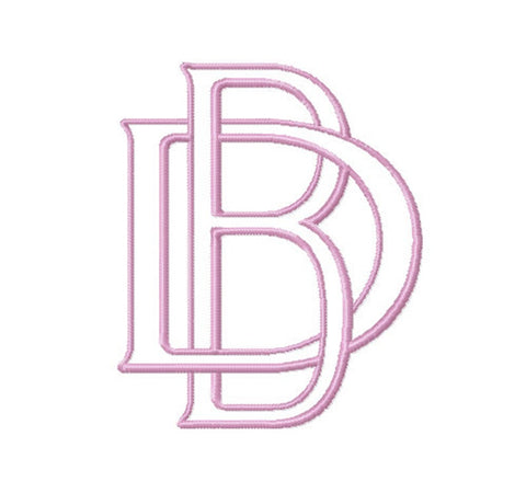 "3.5"" B Embroidery Font Two Type Outline Font"