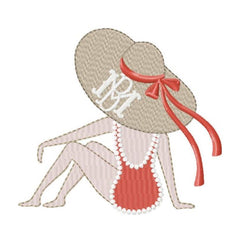Sunbather Straw Hat Woman Embroidery Design