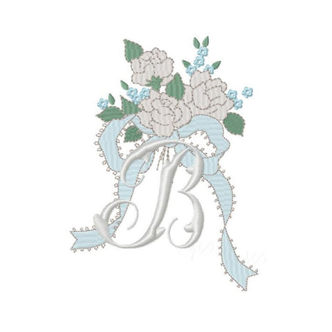 Vintage Bow Floral Embroidery Design