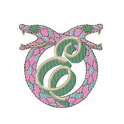 Chinoiserie Snake Embroidery Design