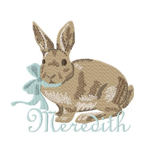 Vintage Easter Rabbit Bow Embroidery Design